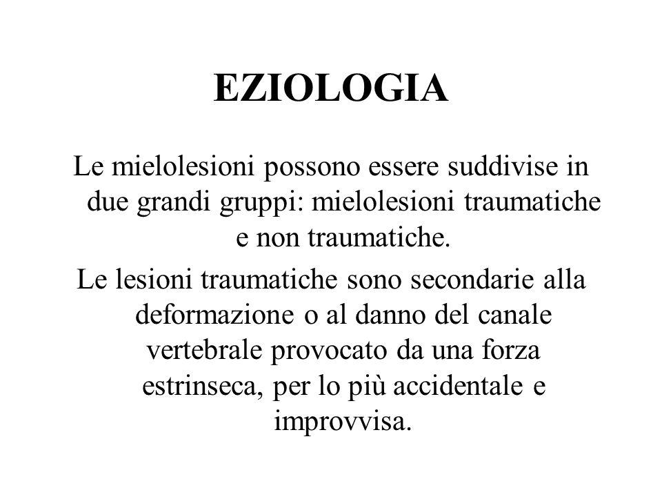 EZIOLOGIA Le mielolesioni possono essere suddivise in due grandi gruppi: mielolesioni traumatiche e non traumatiche.