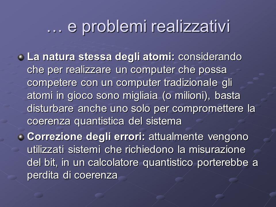 … e problemi realizzativi