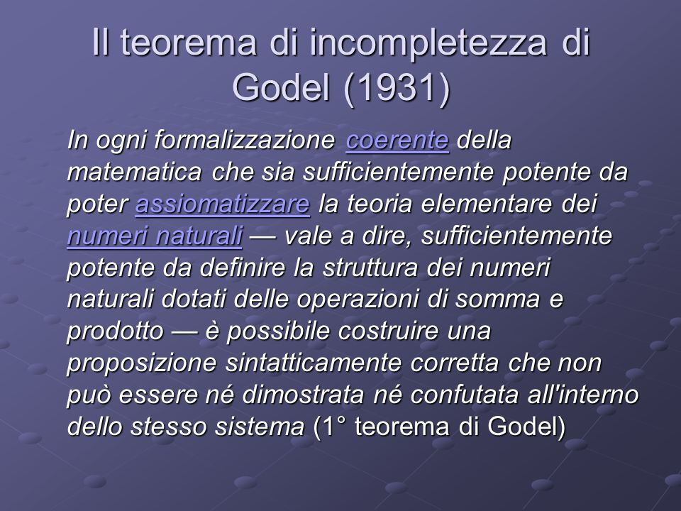 Il teorema di incompletezza di Godel (1931)