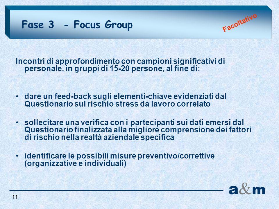 Fase 3 - Focus Group Facoltativo. Incontri di approfondimento con campioni significativi di personale, in gruppi di 15-20 persone, al fine di: