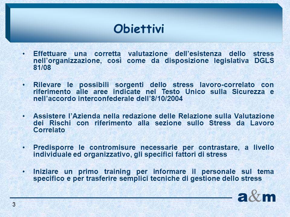 Obiettivi Effettuare una corretta valutazione dell'esistenza dello stress nell'organizzazione, così come da disposizione legislativa DGLS 81/08.