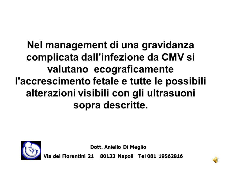 Nel management di una gravidanza complicata dall'infezione da CMV si valutano ecograficamente l accrescimento fetale e tutte le possibili alterazioni visibili con gli ultrasuoni sopra descritte.