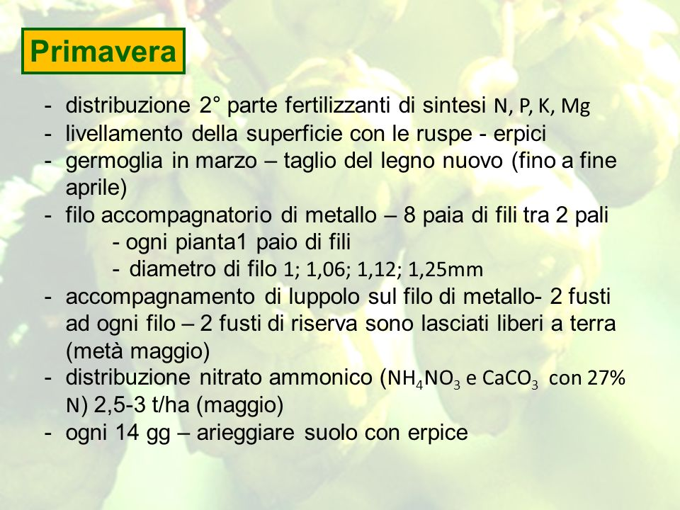Primavera distribuzione 2° parte fertilizzanti di sintesi N, P, K, Mg