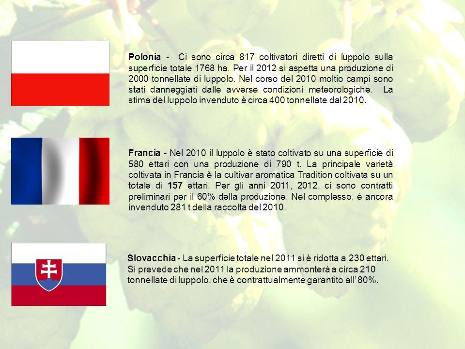 Polonia - Ci sono circa 817 coltivatori diretti di luppolo sulla superficie totale 1768 ha. Per il 2012 si aspetta una produzione di 2000 tonnellate di luppolo. Nel corso del 2010 moltio campi sono stati danneggiati dalle avverse condizioni meteorologiche. La stima del luppolo invenduto è circa 400 tonnellate dal 2010.