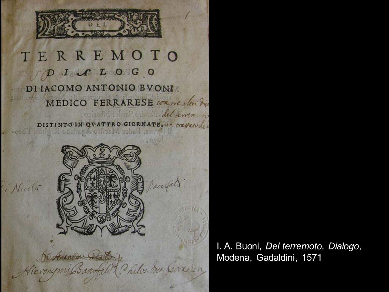 I. A. Buoni, Del terremoto. Dialogo, Modena, Gadaldini, 1571