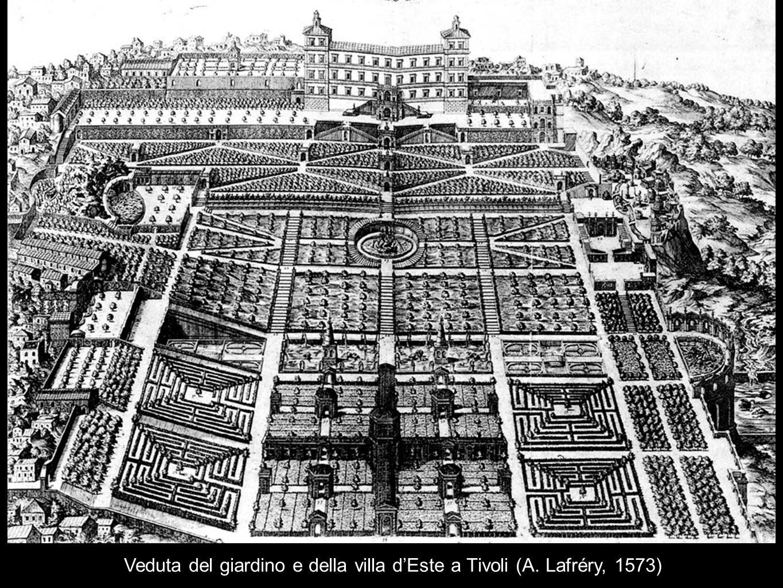 Veduta del giardino e della villa d'Este a Tivoli (A. Lafréry, 1573)