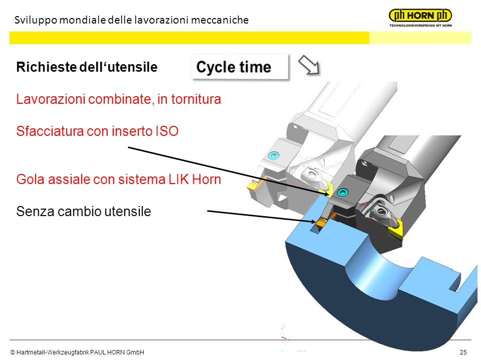 Cycle time Richieste dell'utensile Lavorazioni combinate, in tornitura