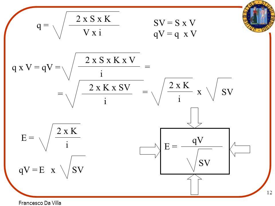 2 x S x K SV = S x V. qV = q x V. q = V x i. 2 x S x K x V. q x V = qV = = i. 2 x K. 2 x K x SV.