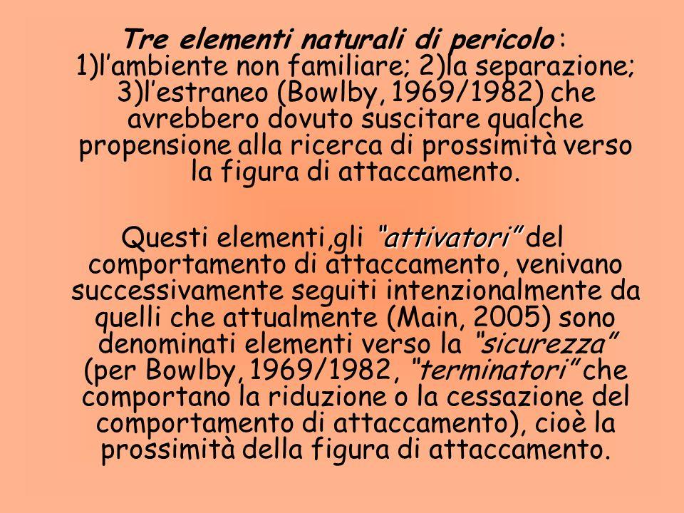 Tre elementi naturali di pericolo : 1)l'ambiente non familiare; 2)la separazione; 3)l'estraneo (Bowlby, 1969/1982) che avrebbero dovuto suscitare qualche propensione alla ricerca di prossimità verso la figura di attaccamento.