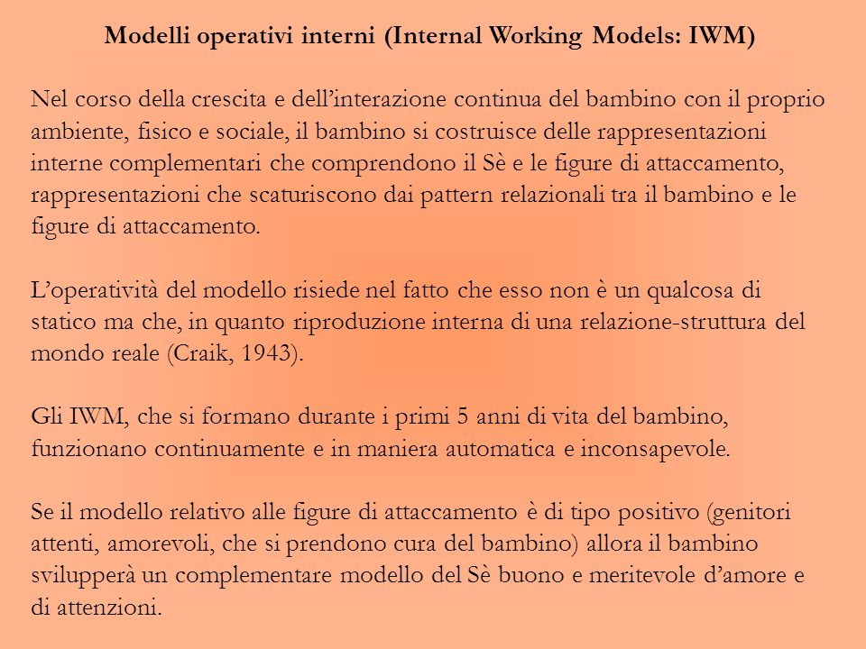 Modelli operativi interni (Internal Working Models: IWM)