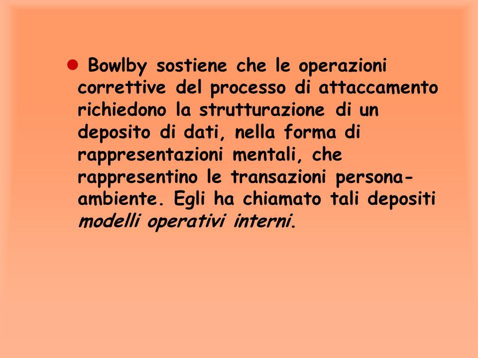 Bowlby sostiene che le operazioni correttive del processo di attaccamento richiedono la strutturazione di un deposito di dati, nella forma di rappresentazioni mentali, che rappresentino le transazioni persona-ambiente.