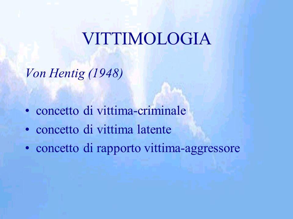 VITTIMOLOGIA Von Hentig (1948) concetto di vittima-criminale