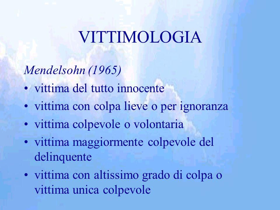 VITTIMOLOGIA Mendelsohn (1965) vittima del tutto innocente