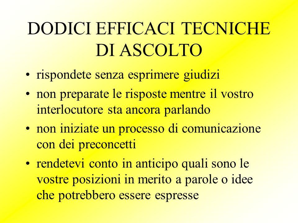 DODICI EFFICACI TECNICHE DI ASCOLTO