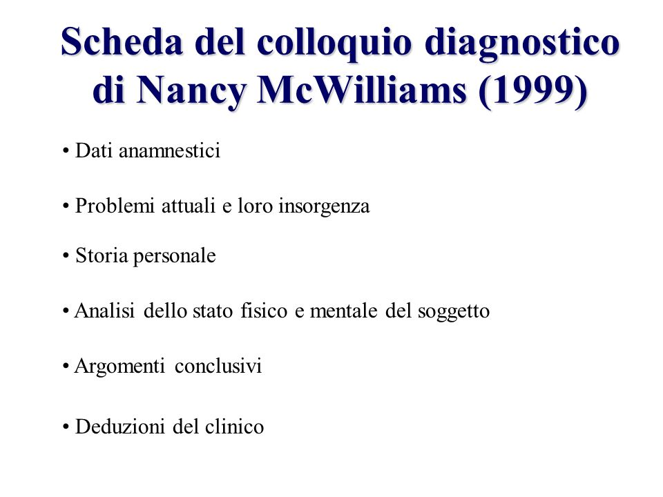 Scheda del colloquio diagnostico di Nancy McWilliams (1999)
