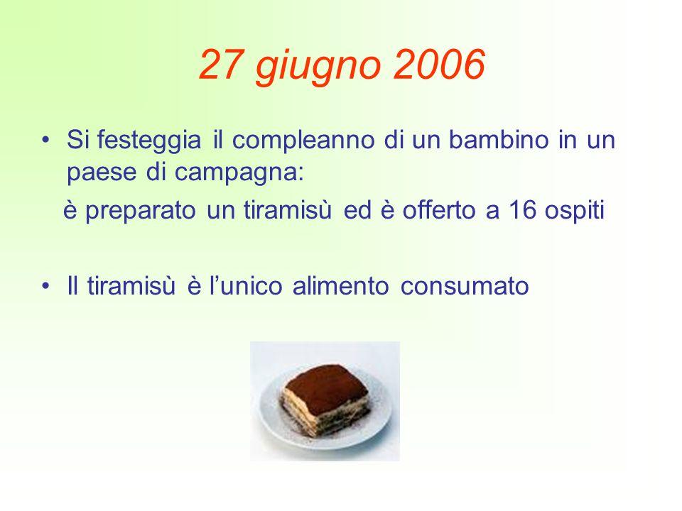 27 giugno 2006 Si festeggia il compleanno di un bambino in un paese di campagna: è preparato un tiramisù ed è offerto a 16 ospiti.
