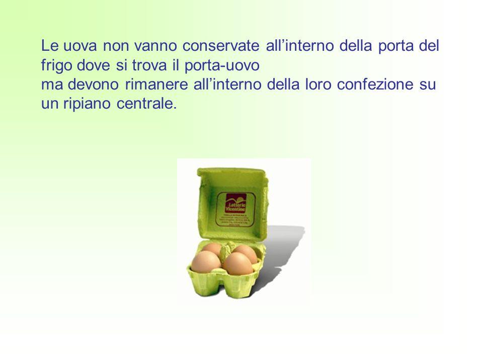 Le uova non vanno conservate all'interno della porta del frigo dove si trova il porta-uovo