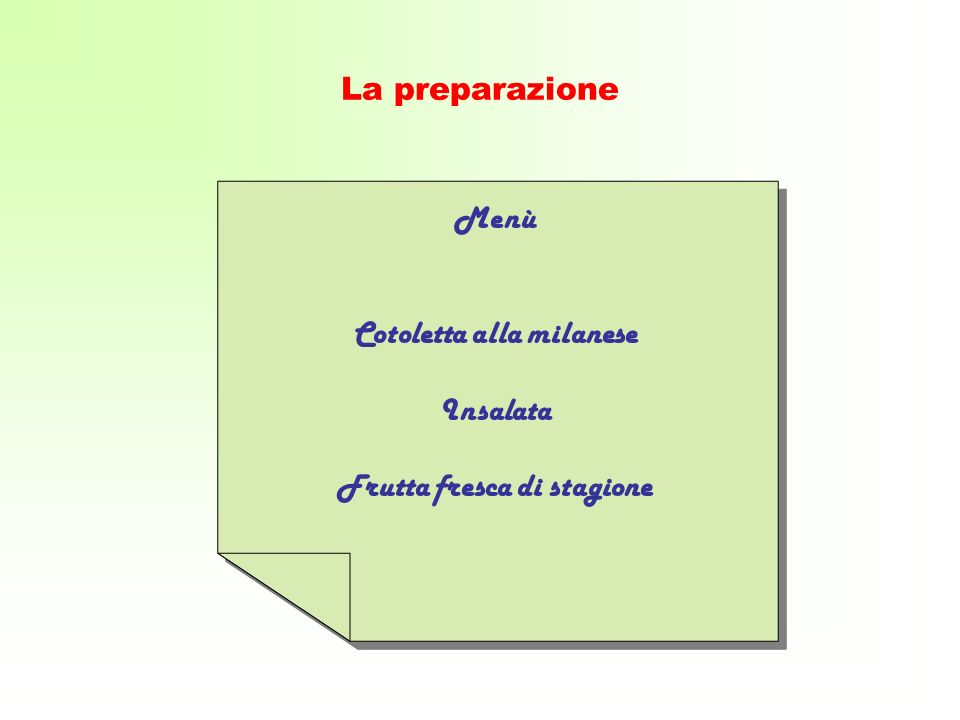 Cotoletta alla milanese Frutta fresca di stagione