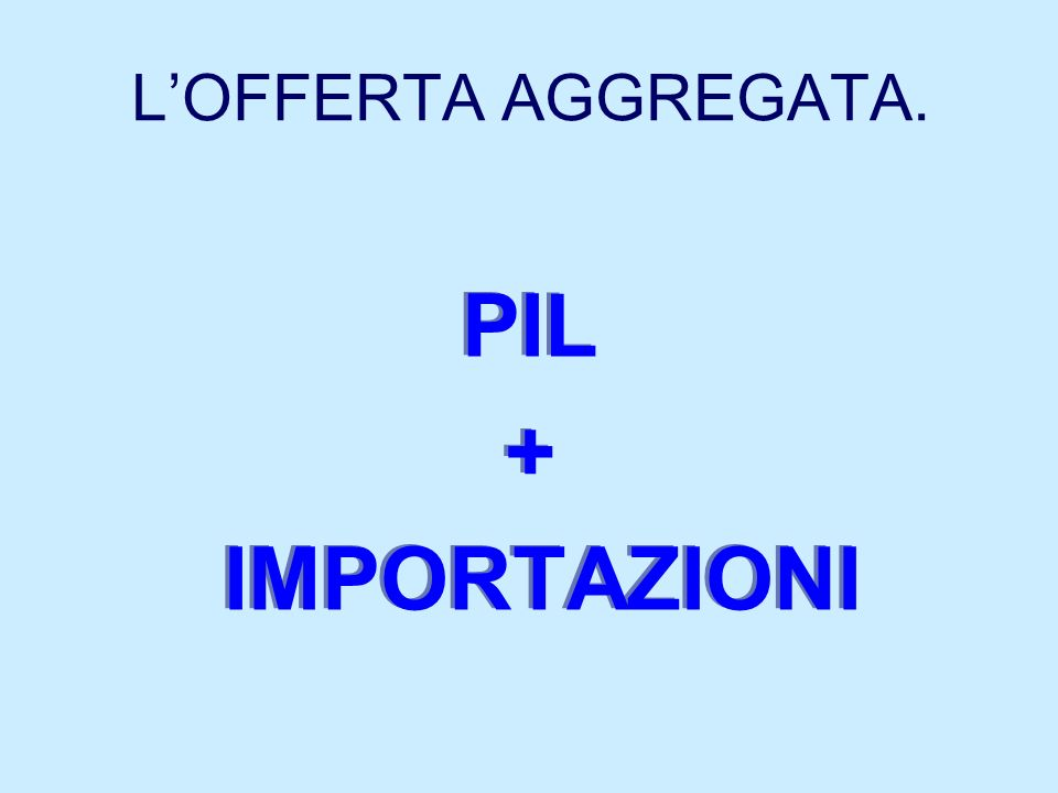 L'OFFERTA AGGREGATA. PIL + IMPORTAZIONI