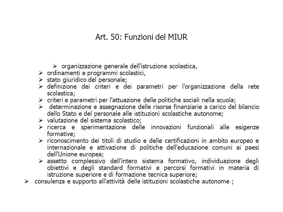Art. 50: Funzioni del MIUR organizzazione generale dell istruzione scolastica, ordinamenti e programmi scolastici,