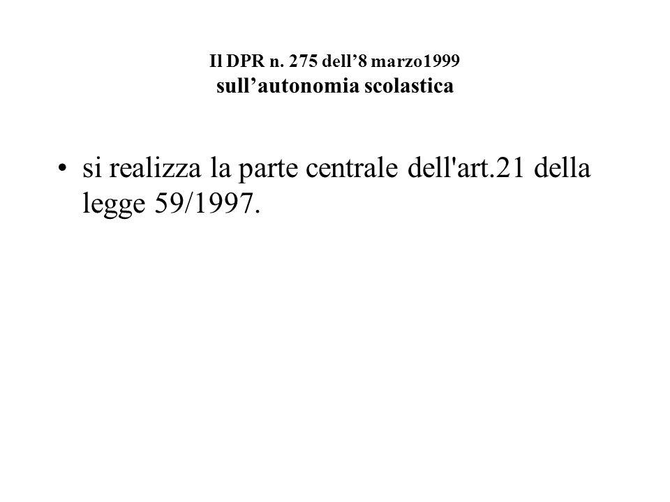 Il DPR n. 275 dell'8 marzo1999 sull'autonomia scolastica