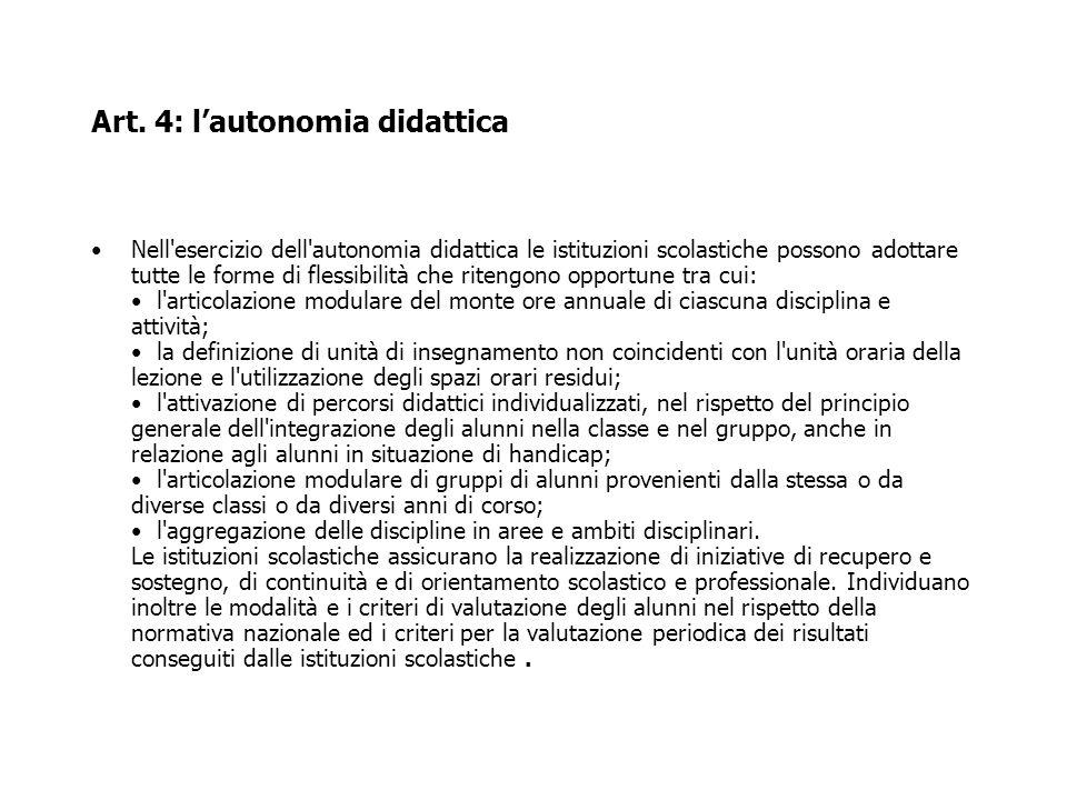 Art. 4: l'autonomia didattica