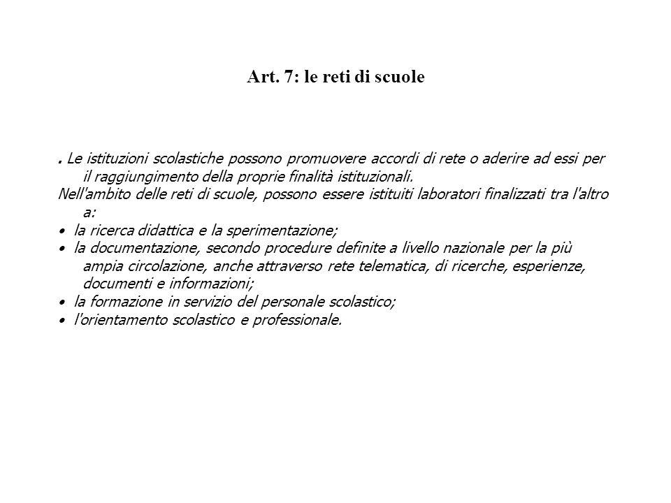 Art. 7: le reti di scuole