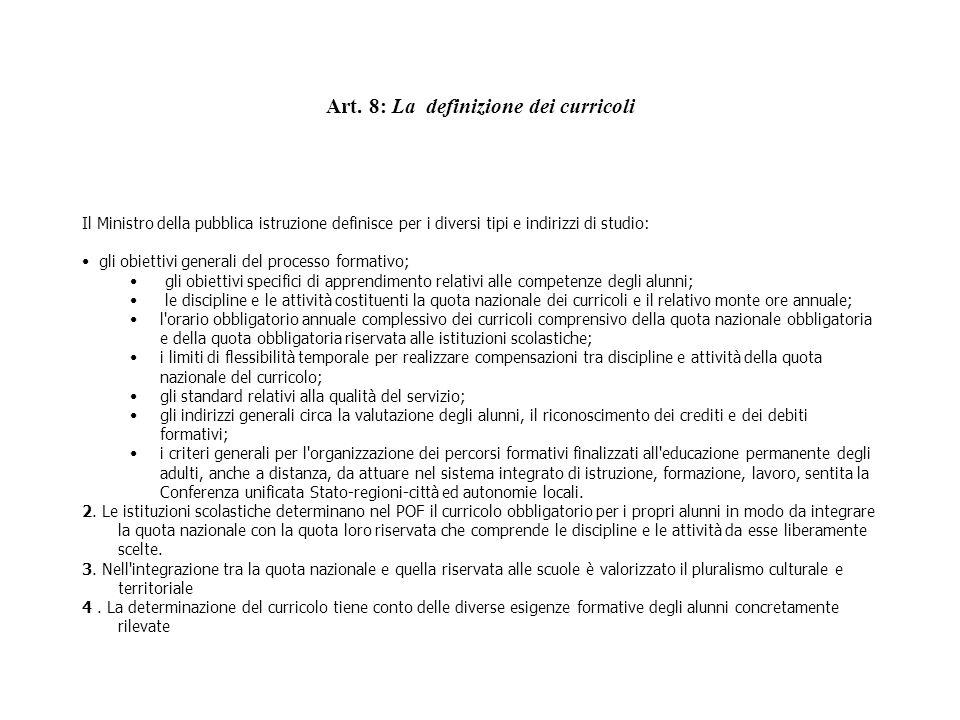 Art. 8: La definizione dei curricoli
