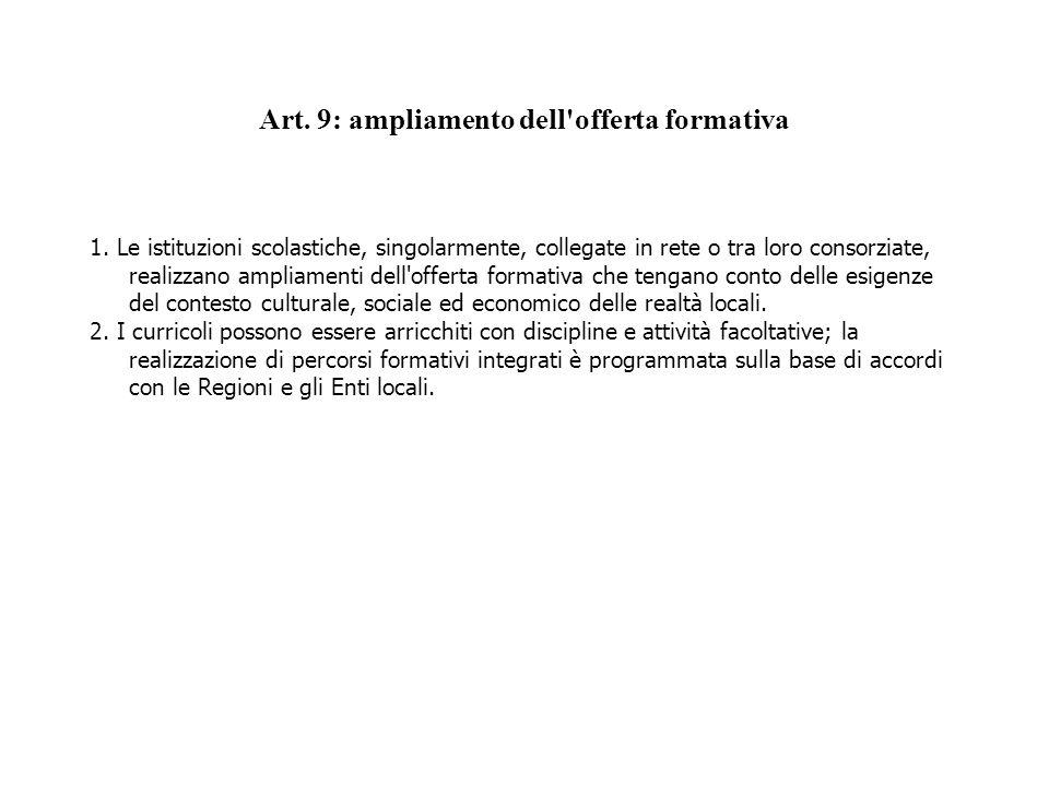 Art. 9: ampliamento dell offerta formativa