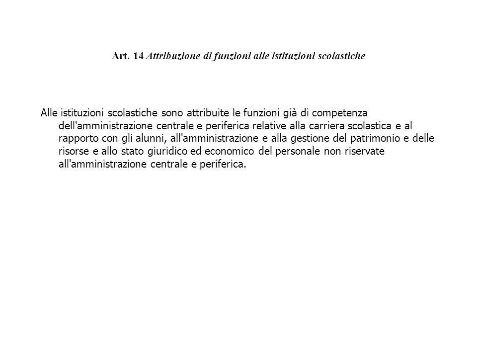 Art. 14 Attribuzione di funzioni alle istituzioni scolastiche