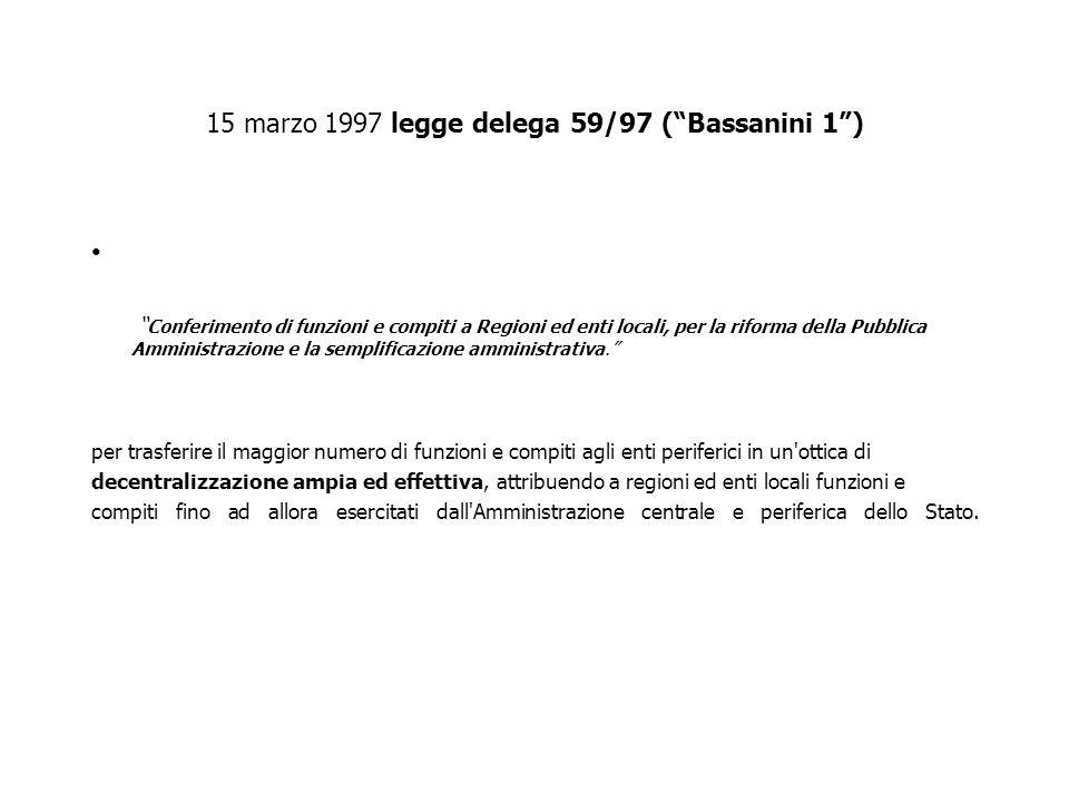 15 marzo 1997 legge delega 59/97 ( Bassanini 1 )