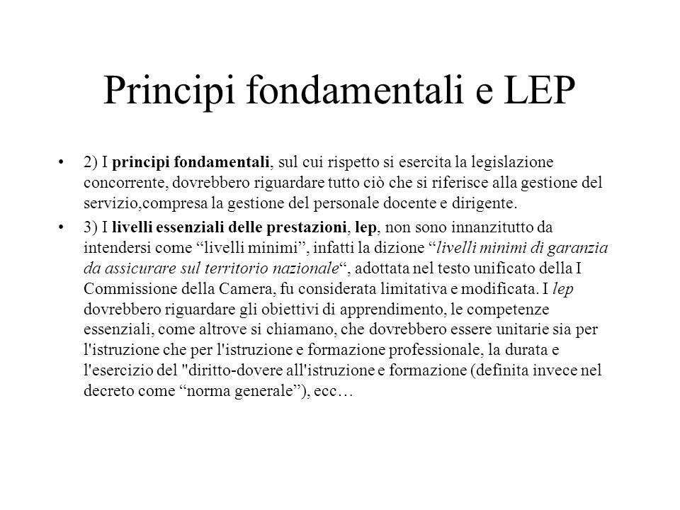 Principi fondamentali e LEP