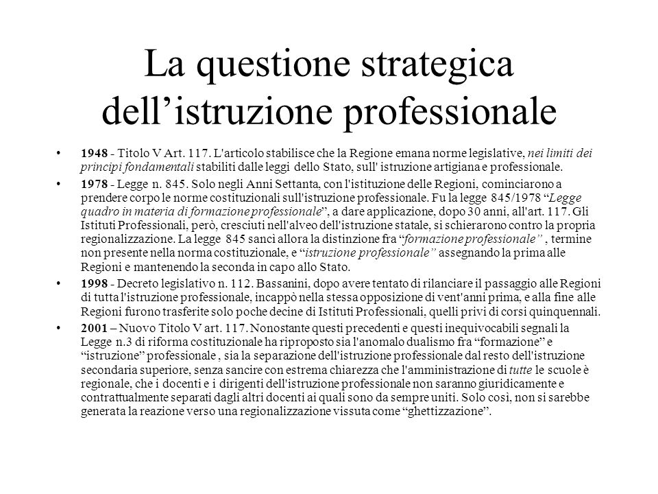La questione strategica dell'istruzione professionale