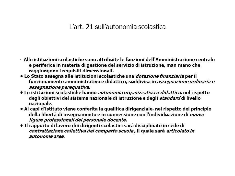 L'art. 21 sull'autonomia scolastica