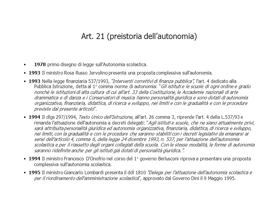 Art. 21 (preistoria dell'autonomia)