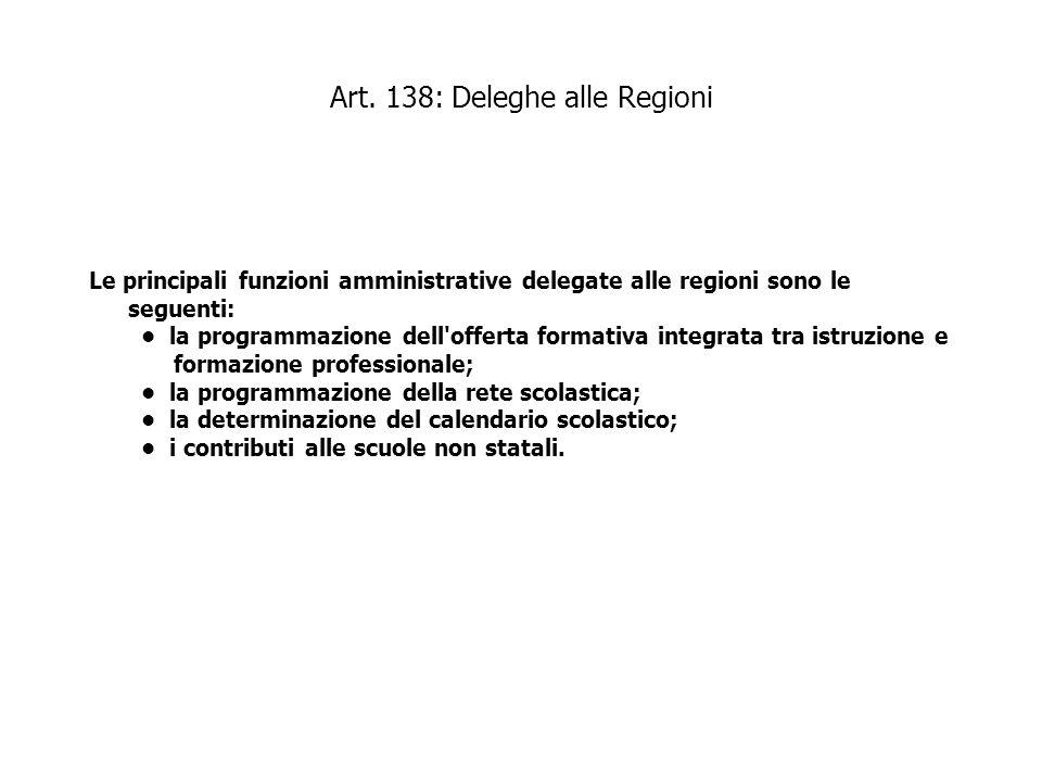 Art. 138: Deleghe alle Regioni