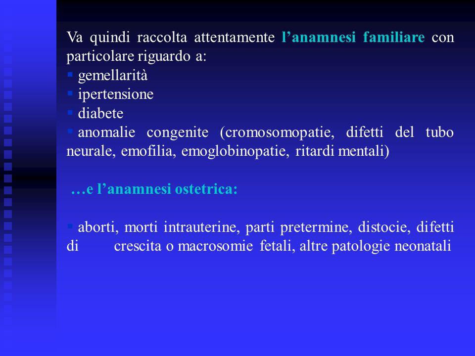 Va quindi raccolta attentamente l'anamnesi familiare con particolare riguardo a:
