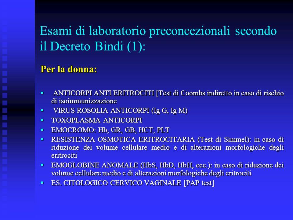 Esami di laboratorio preconcezionali secondo il Decreto Bindi (1):