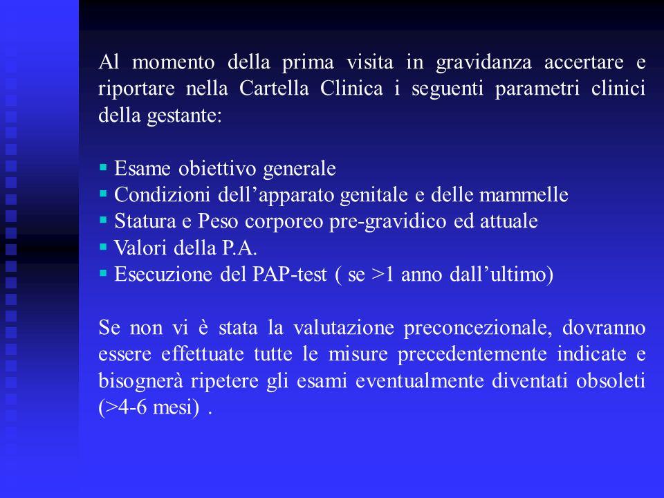 Al momento della prima visita in gravidanza accertare e riportare nella Cartella Clinica i seguenti parametri clinici della gestante: