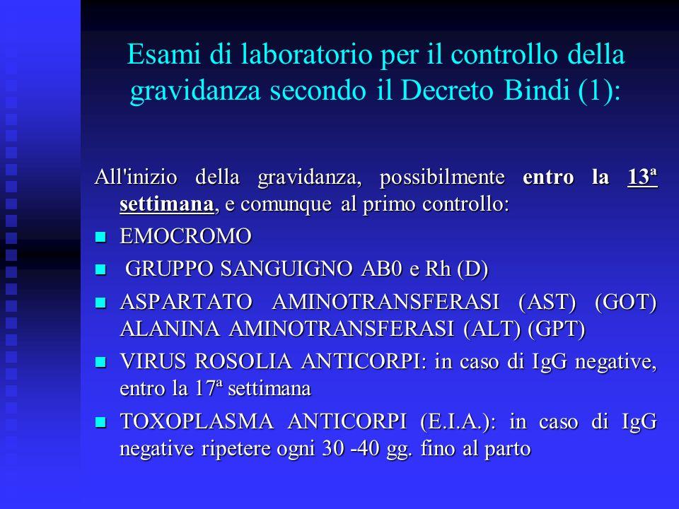 Esami di laboratorio per il controllo della gravidanza secondo il Decreto Bindi (1):