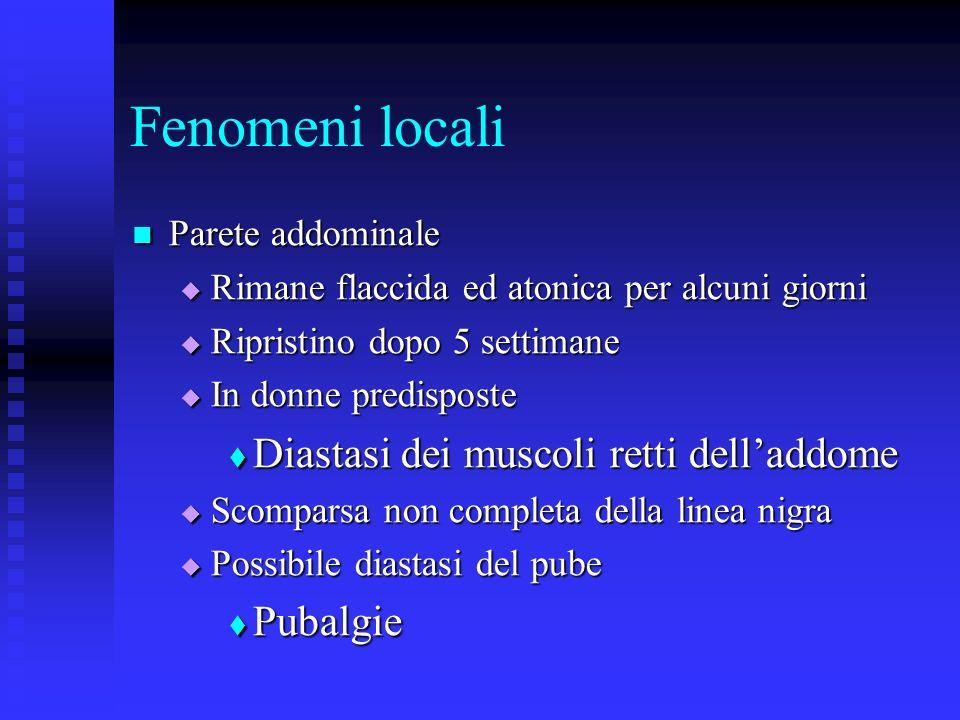 Fenomeni locali Diastasi dei muscoli retti dell'addome Pubalgie