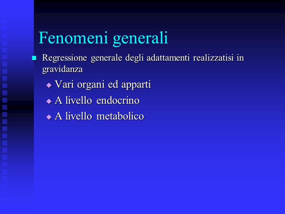 Fenomeni generali Vari organi ed apparti A livello endocrino