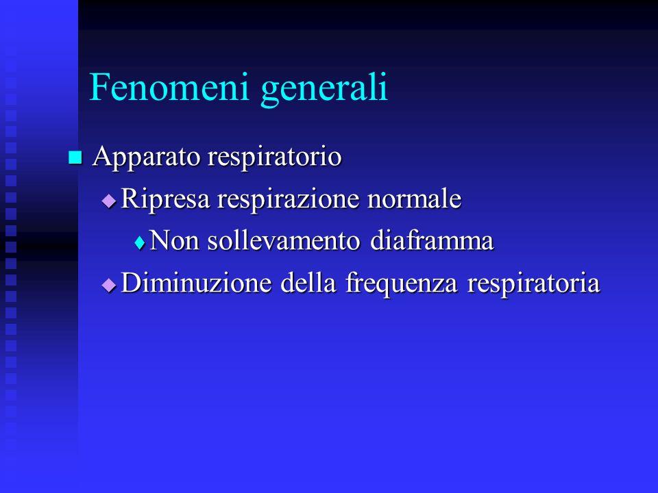 Fenomeni generali Apparato respiratorio Ripresa respirazione normale