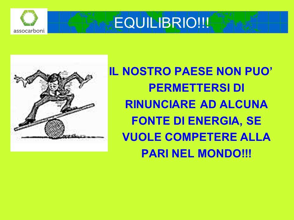 EQUILIBRIO!!!IL NOSTRO PAESE NON PUO' PERMETTERSI DI RINUNCIARE AD ALCUNA FONTE DI ENERGIA, SE VUOLE COMPETERE ALLA PARI NEL MONDO!!!