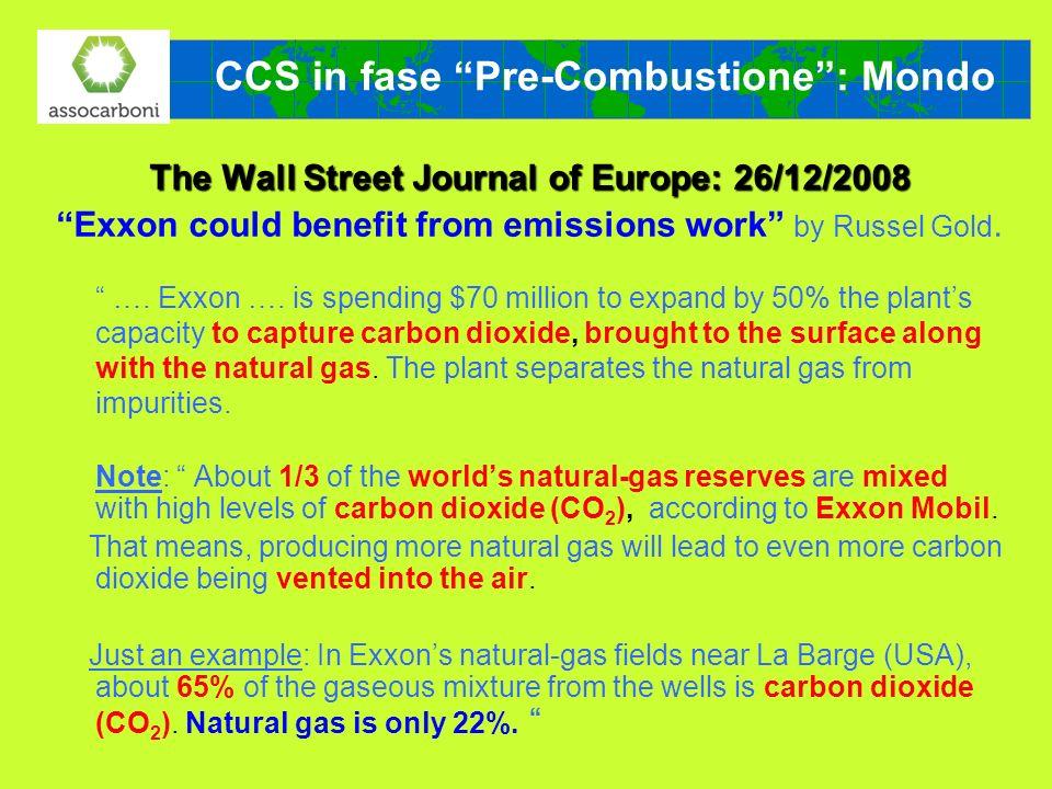 CCS in fase Pre-Combustione : Mondo