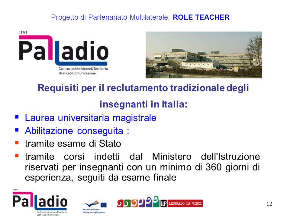 Requisiti per il reclutamento tradizionale degli insegnanti in Italia: