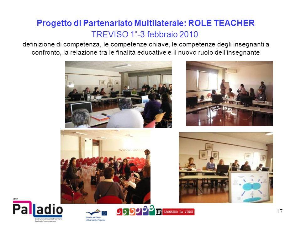 Progetto di Partenariato Multilaterale: ROLE TEACHER TREVISO 1°-3 febbraio 2010: definizione di competenza, le competenze chiave, le competenze degli insegnanti a confronto, la relazione tra le finalità educative e il nuovo ruolo dell insegnante