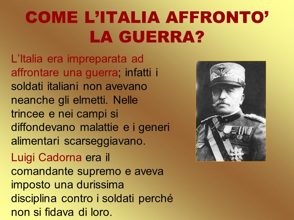 COME L'ITALIA AFFRONTO' LA GUERRA
