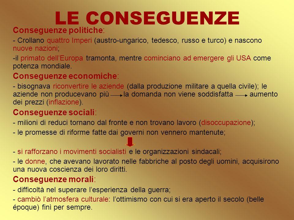 LE CONSEGUENZE Conseguenze politiche: Conseguenze economiche: