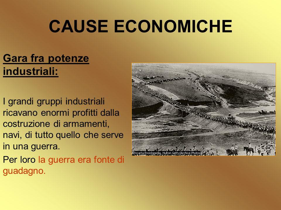 CAUSE ECONOMICHE Gara fra potenze industriali: